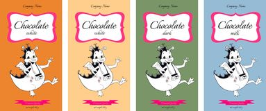 Collection of chocolate packaging design with cute dragons. Royalty Free Stock Image