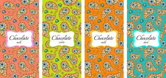 Collection of chocolate packaging design with paisley ornament Royalty Free Stock Image