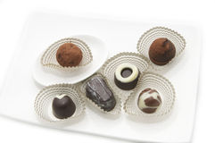 Collection of chocolates stock images