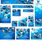 Collection of Christmas. Banners with baubles and place for text. Vector illustration stock illustration
