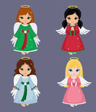 Collection of christmas angels. Vector illustration. Stock Photos