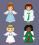 Collection of christmas angels. Vector illustration. Stock Image