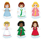 Collection of christmas angels on white background. Vector illustration stock illustration