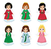 Collection of christmas angels  on white background . Royalty Free Stock Images