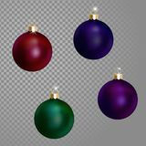 Collection of Christmas ball tree decoration dark blue green wine purple saturated color. 3d realistic. On transparent background design element. New Year Royalty Free Stock Image
