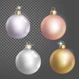 Collection of Christmas ball tree decoration white silver rose gold delicate color. 3d realistic transparent vector illustration