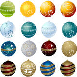 Collection of christmas balls Stock Images