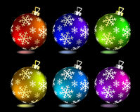 Collection of Christmas balls. On black. Vector illustration Stock Image