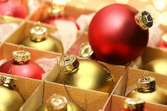 Collection of Christmas balls in box Stock Images