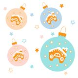 Collection of Christmas balls with stars and cute houses in the. Snow on white background Royalty Free Stock Photos