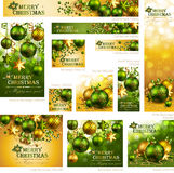 Collection of Christmas banners. With baubles and place for text. Vector illustration royalty free illustration