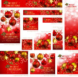 Collection of Christmas banners. With baubles and place for text. Vector illustration vector illustration