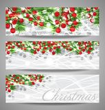 Collection Christmas banners with fir branches and red berries, New Year. Vector. Illustration Stock Photo