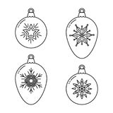 Set of Christmas bauble line icons Stock Photo