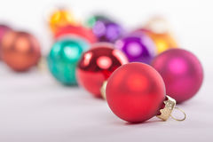 Collection of Christmas Baubles. A collection of christmas baubles with shallow depth of field Royalty Free Stock Image