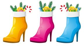 Christmas boots for the lady stock illustration