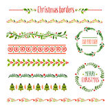 Collection of christmas borders. Retro pattern painted Royalty Free Stock Image