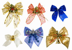 Collection of christmas bows. Isolated on white Stock Photos