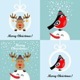 Christmas cards with cartoon deer and bullfinches. Vector illustrations. Collection of Christmas cards with cartoon deer and bullfinches. Vector illustrations royalty free illustration