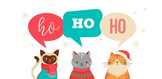 Merry Christmas greeting, banner with cute cats characters, vector collectionn. Collection of Christmas cats, Merry Christmas illustrations of cute cats with Stock Images