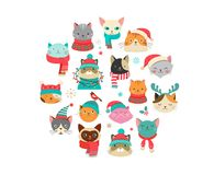 Merry Christmas greetings with cute cats characters, vector collectionn. Collection of Christmas cats, Merry Christmas illustrations of cute cats with Royalty Free Stock Photography