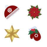 Collection of Christmas colored icons. Set of beautiful items Royalty Free Stock Photos