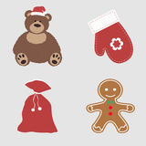 Collection of Christmas colored icons. Set of beautiful items Stock Photo