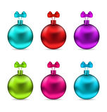Collection Christmas Colorful Glassy Balls with Stock Photo