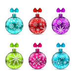 Collection Christmas Colorful Glassy Balls Royalty Free Stock Photography