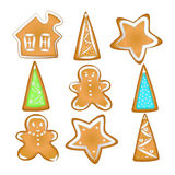 Collection of Christmas cookies. Homemade Gingerbread with spice. Gingerbread cookies with a glaze. Homemade pastries with spices. on white background without royalty free illustration