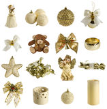 Collection of christmas decoration. Isolated on white. in golden colour Stock Images