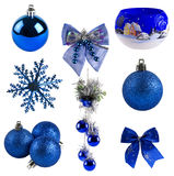 Collection of christmas decoration. Isolated on white. in blue color Stock Photo