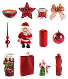 Collection of christmas decoration. Isolated on white. in red colour Stock Image