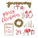 Collection christmas decoration Stock Image