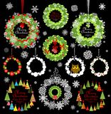 Collection of christmas decorative paper wreath Stock Photo