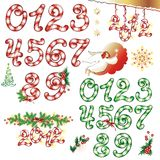 Collection of Christmas design elements. Sugar candies. Figures from 1 to 9. (vector illustration stock illustration
