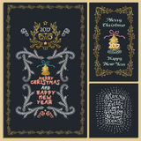Collection of Christmas design elements  on black backgr Royalty Free Stock Photo