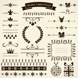 Collection of christmas design elements. Vector illustration. Stock Photos