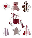 Collection of christmas elements. Made in patchwork style Royalty Free Stock Image