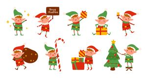 Collection of Christmas elves isolated on white background. Bundle of little Santa`s helpers holding holiday gifts and royalty free illustration