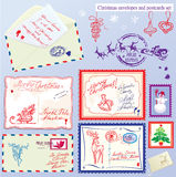 Collection of Christmas envelops, postcards, stamp. S and hand drawn texts and pictures - Christmas and New Year postage set Stock Photo