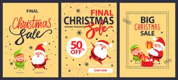 Collection of Christmas Final Sale Holiday Posters. Collection of christmas final sale holiday discount posters with Santa Claus and elf cartoon characters Stock Photography