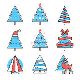 Collection of Christmas fir trees Stock Photos