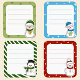 Collection of christmas frames.  Cute frames with snowmen. Stock Image