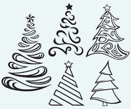 Collection of Christmas fur-trees Royalty Free Stock Images