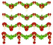 Collection of christmas garlands Royalty Free Stock Photos