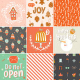 Collection of 9 Christmas gift tags and cards Stock Images