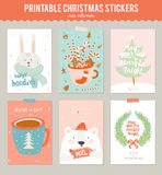 Collection of 9 Christmas gift tags and cards Royalty Free Stock Photos