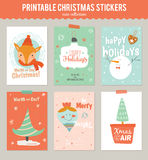 Collection of 6 Christmas gift tags and cards. Templates. Christmas beautiful cheerful posters set. Lovely winter invitations with cartoon and character style Royalty Free Stock Images