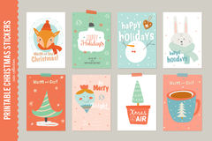 Collection of 8 Christmas gift tags and cards Royalty Free Stock Photos
